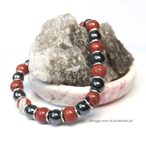 Bransoletka z naturalnym hematytem i czerwonym jaspisem na gumce na prezent