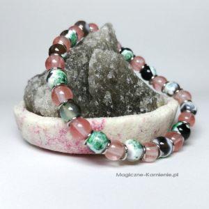 Bransoletka z naturalnym kwarcem różowym i agatem smocze oko na gumce na prezent