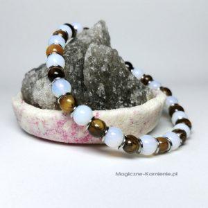 Bransoletka z naturalnym tygrysim okiem i opalem na gumce na prezent